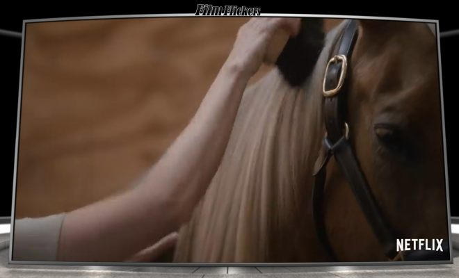 """Alison Brie in """"Horse Girl"""" brushing her character's horse"""
