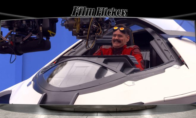 "Image of Jim Carey in a ship on set of ""Sonic the Hedgehog"" playing Robotnik"