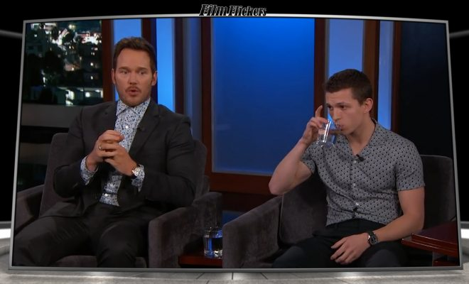 Chris Pratt and Tom Holland interviewing on Jimmy Kimmel