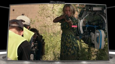 """Image of Emily Blunt in """"A Quiet Place Part II"""" during a behind the scenes moment"""