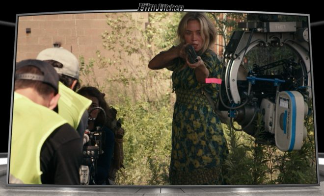 "Image of Emily Blunt in ""A Quiet Place Part II"" during a behind the scenes moment"