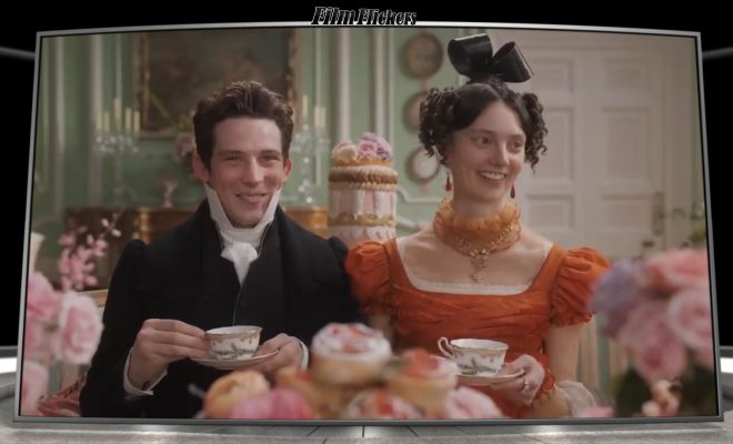 """Image of a couple having tea from the film """"Emma."""""""