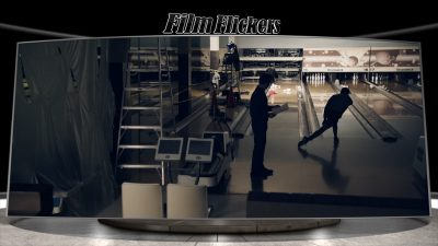 """Image of two guys in an old bowling alley under construction in the film """"Phoenix Oregon"""""""