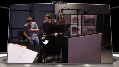"""Image of a 'behind the scenes look at Tom Holland and Chris Pratt laughing while doing voice recordings for the film """"Onward"""""""
