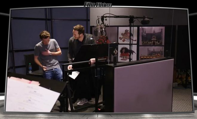 "Image of a 'behind the scenes look at Tom Holland and Chris Pratt laughing while doing voice recordings for the film ""Onward"""