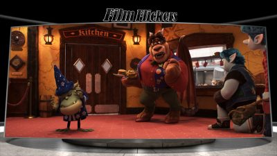 """Image of three characters at a restaurant from """"Onward"""" film"""