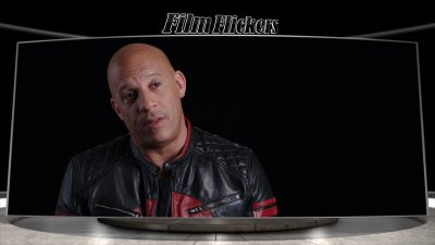 Vin Diesel giving an interview behind the scenes