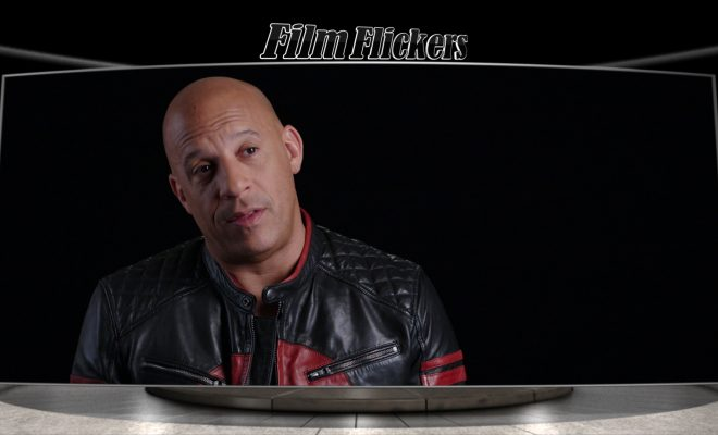 Vin Diesel giving an interview behind the scenes