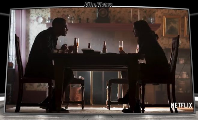 Image of a couple eating dinner in their home