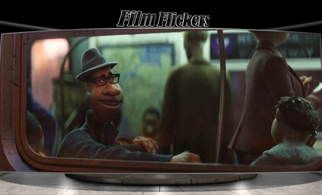 "Image of a man sitting on a bus smiling from animated film ""Soul"""