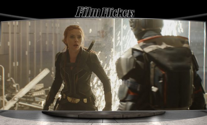 "Image of Scarlett Johansson fighting opponent in the film ""Black Widow"""