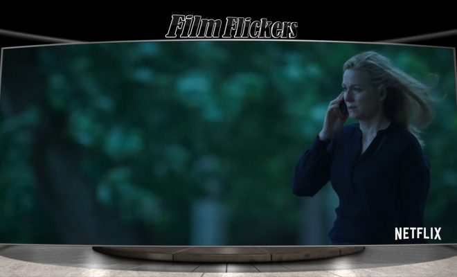 """Image of a woman, known as Wendy Byrde in the show """"Ozark"""" on the phone outside"""