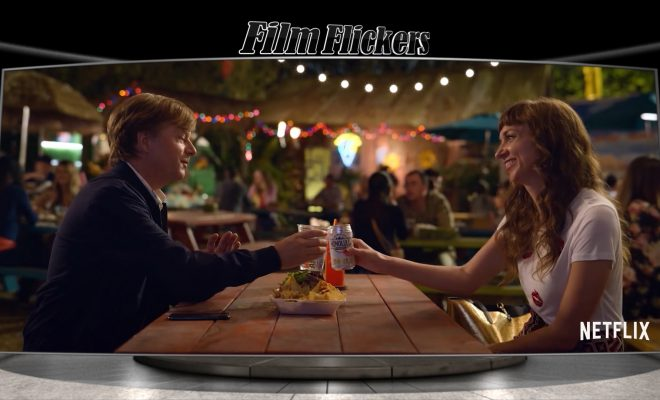 """Image of David Spade having drinks with a girl from the film """"The Wrong Missy"""""""