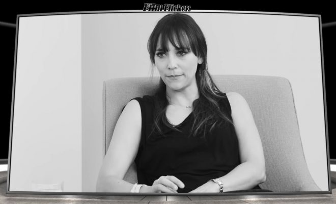 "Image of Rashida Jones talking bout Steve Carell's humor when on the show ""The Office"""