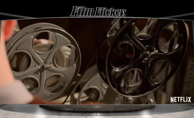 "Image of an 8mm film wheel on a projector from the show ""Hollywood"""