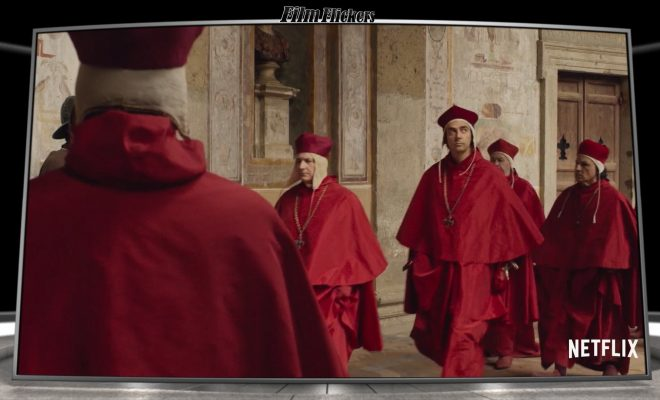 "Image of people in red robes from the tv series ""Medici"""