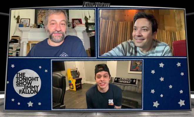 image of a digital meeting with Jimmy Fallon, Judd Apatow and Pete Davidson