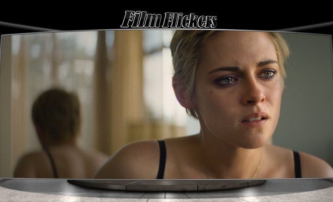 "Image of Kristen Stewart looking sad from the film ""Seberg"""