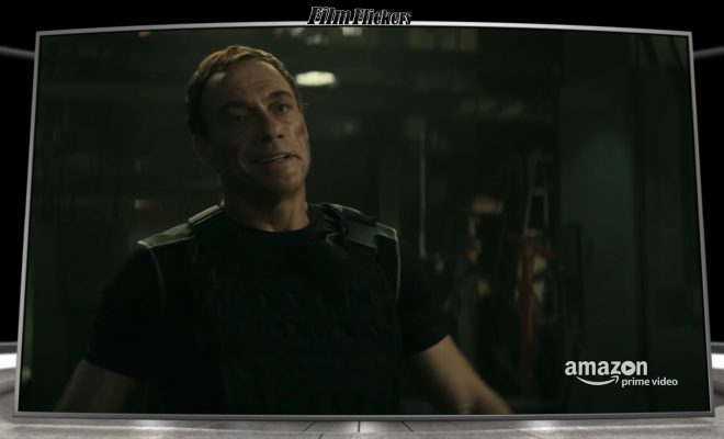 "Image of Jean Claude looking at someone from the film ""Jean Claude Van Johnson"""