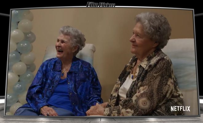 "Image of two old ladies sitting next to each other talking in their documentary ""A Secret Love"""