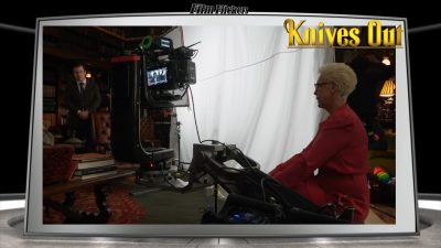 "Image of Jamie Lee Curtis on the set of ""Knives Out"" sitting in from of camera"