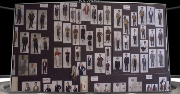 "Image of print cut outs of 1930's clothing style for the HBO series ""Perry Mason"""