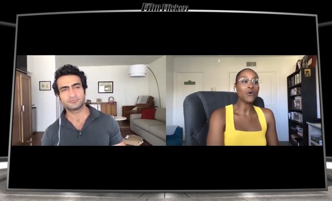 "Image of Issa Rae and Kumail Nanjiani doing a zoom digital meeting to talk about their movie ""The Lovebirds"""