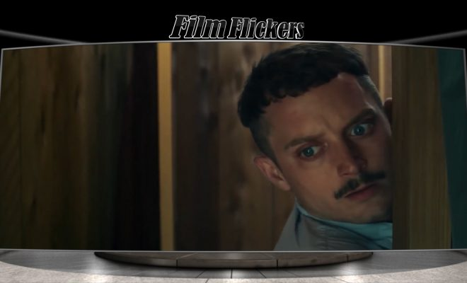 "Image of Elijah Wood who looks frightened in the film ""Come To Daddy"""
