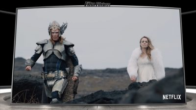 "Image of Will Ferrell and Rachel McAdams walking in viking sparkling outfits in the film ""Eurovison"""
