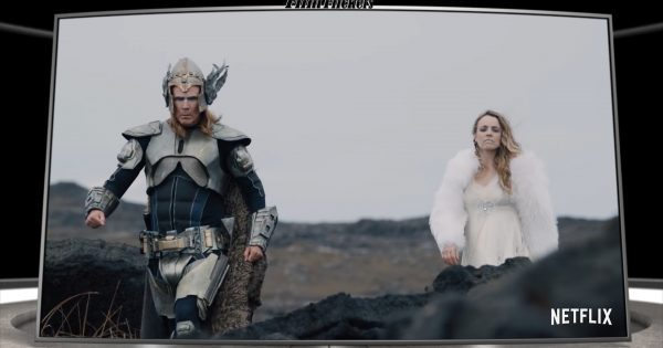 """Image of Will Ferrell and Rachel McAdams walking in viking sparkling outfits in the film """"Eurovison"""""""