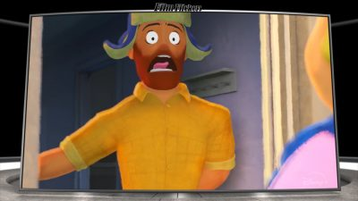 "Image of a guy, ""Greg"", freaking out when answering the door to in a Disney short called ""Out"""