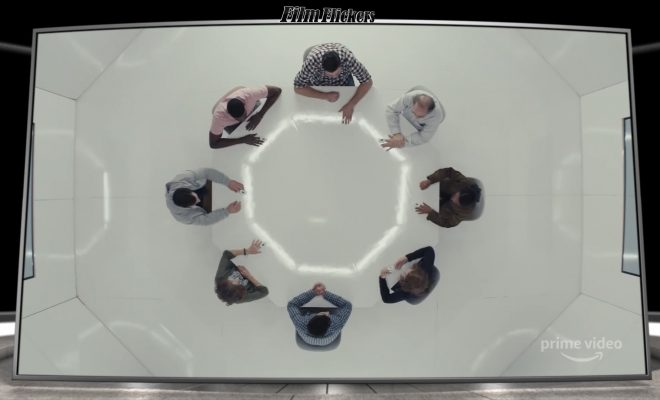 """Image of a group sitting in a circle from birds eye view in the tv series """"Homecoming"""""""