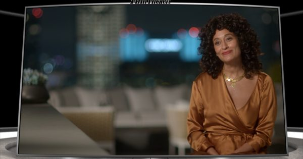 "Image of Tracee Ellis Ross getting interviewed about ""The High Note"""