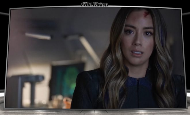 Image of Chloe Bennet as Daisy looking off camera during final season of SHIELD