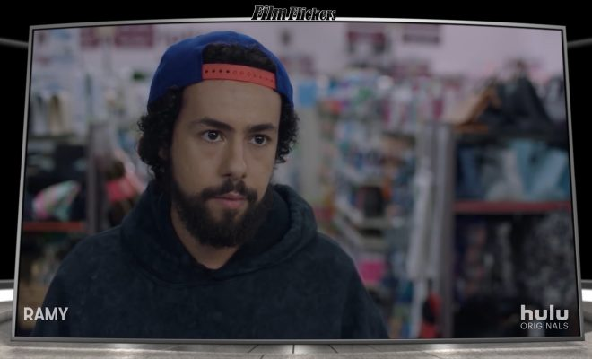"Image of Ramy from the show ""Ramy"" at a convenience store"